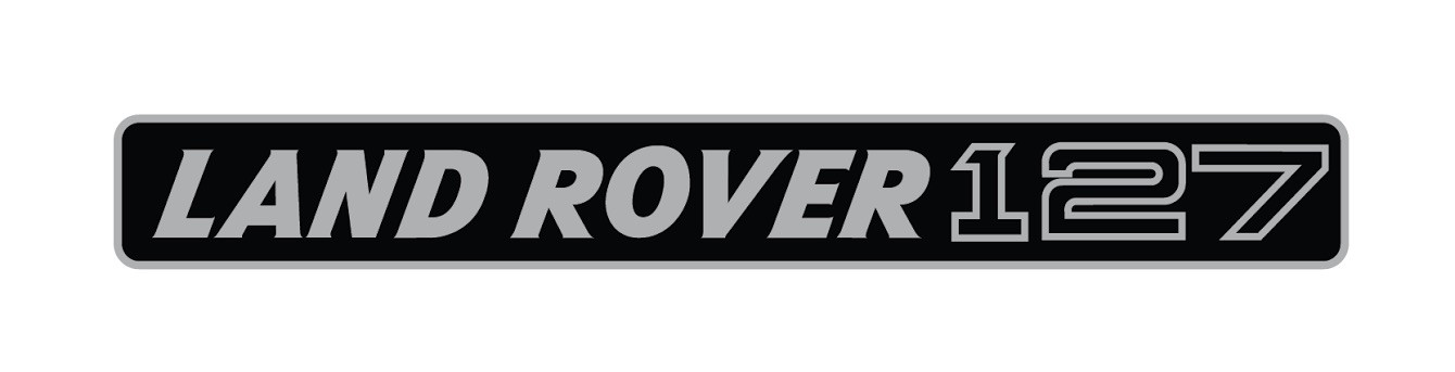 """""""Land Rover 127"""" decal for upper grille panel (layered silver over black vinyl)"""