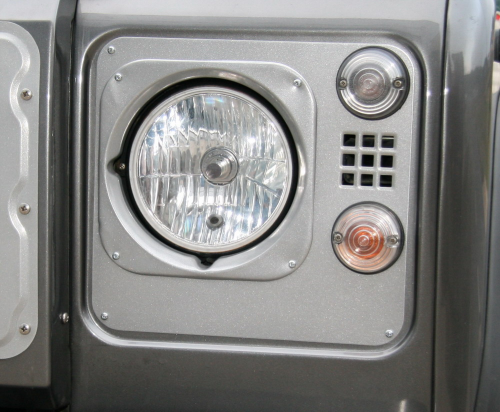 Heritage Style Headlight Surrounds, aluminum with inlet squares (pair, black or silver powdercoat) [***4-6 WEEK LEAD-TIME***]