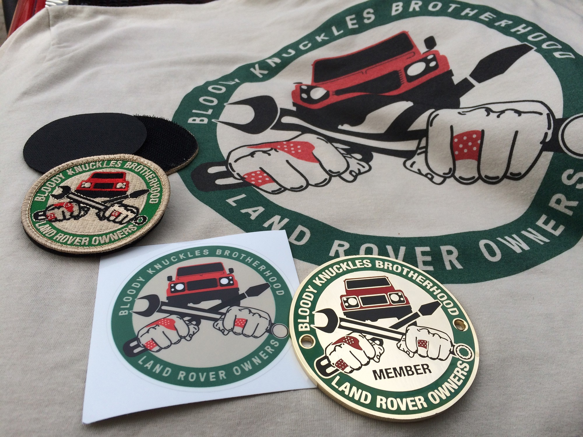 """Bloody Knuckles Brotherhood"" PACKAGE DEAL - Badge, Patch, Sticker, T-Shirt & Hat"