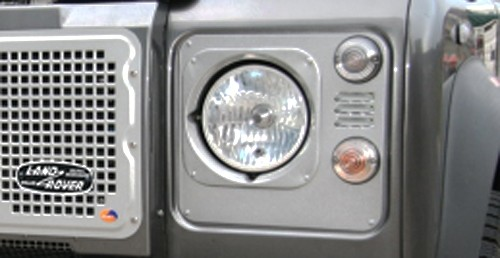 Heritage Style Headlight Surrounds, aluminum with inlet gills (pair, black or silver powdercoat) [***4-6 WEEK LEAD-TIME***]