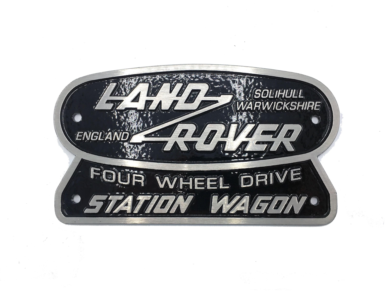 """Land Rover Four Wheel Drive Station Wagon"" Oval Badge (Cast Aluminum)"