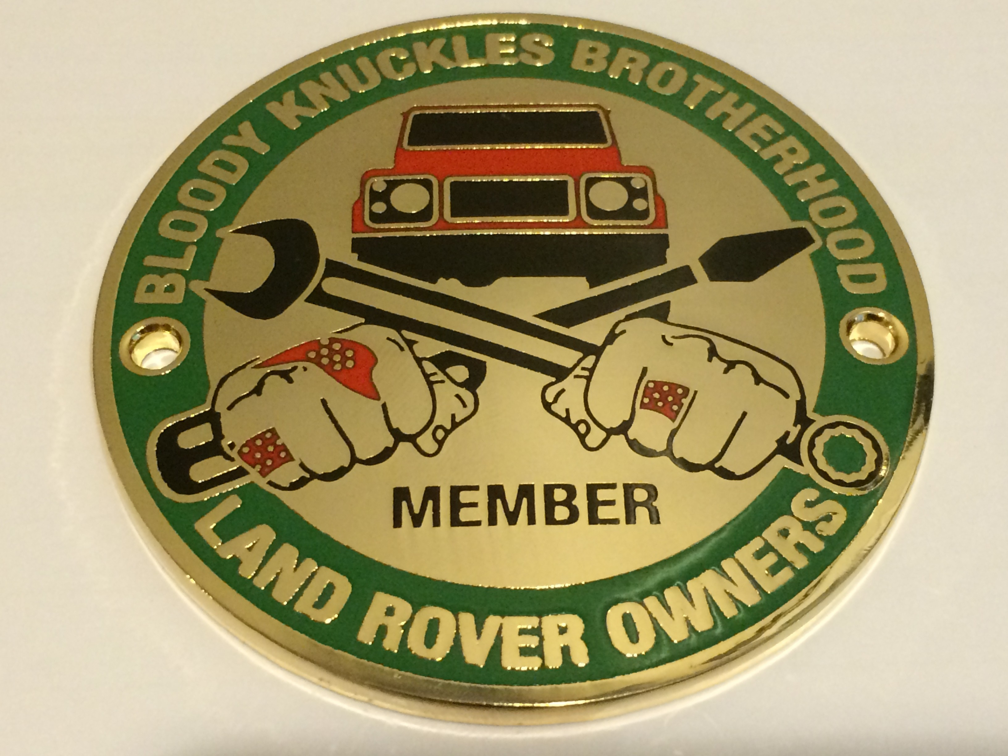"""Bloody Knuckles Brotherhood: Member"" Round 3-inch Metal Grille Badge"