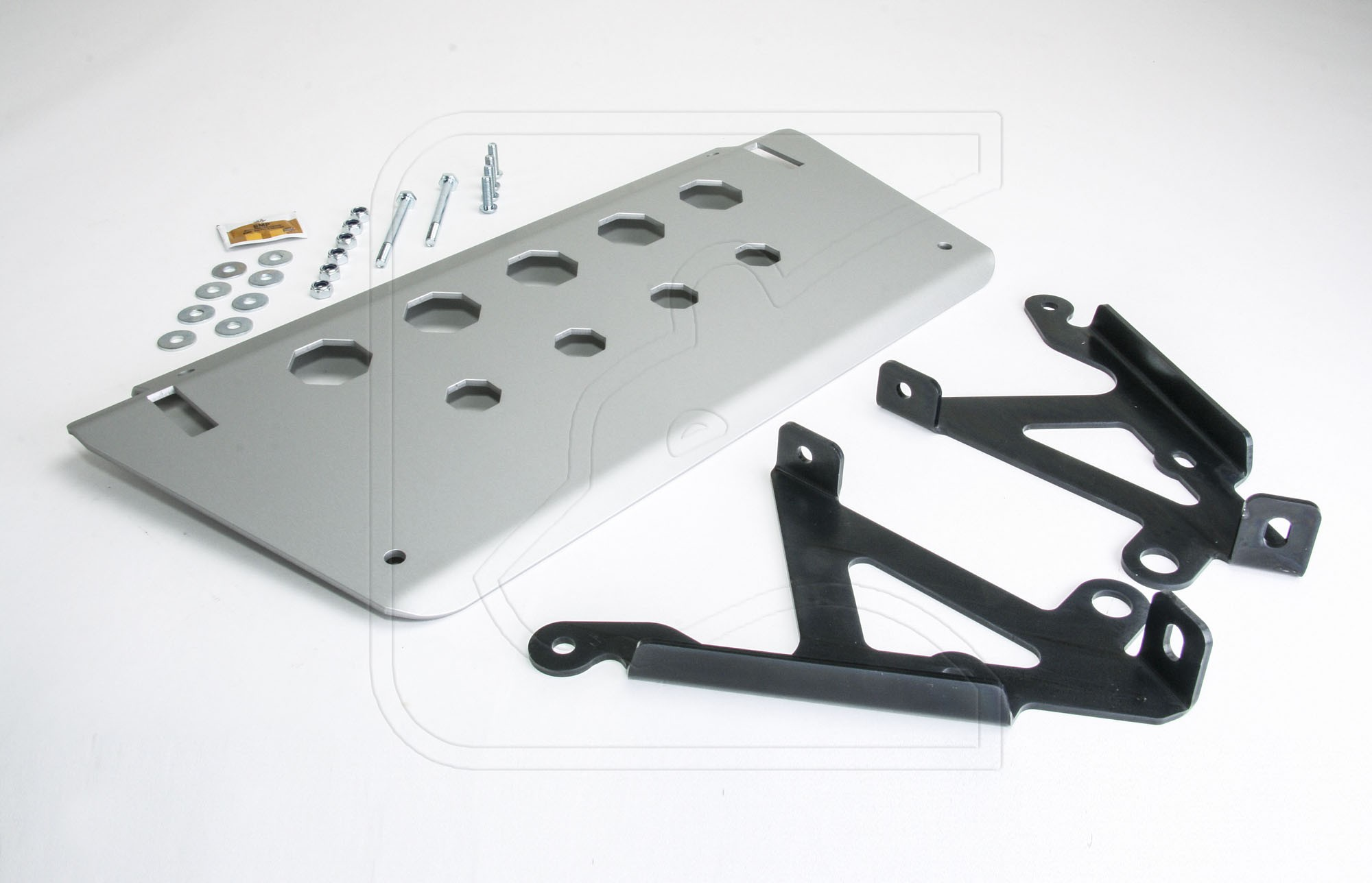 Defender Aluminum Steering Guard / Skid Plate and Mounting Brackets