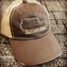 """Series-Defender Outfitters"" Distressed Mesh Back Hat with SDO outline logo"