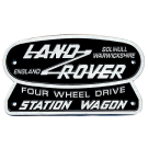 """Land Rover Four Wheel Drive Station Wagon"" Oval Badge (Cast Aluminum)"