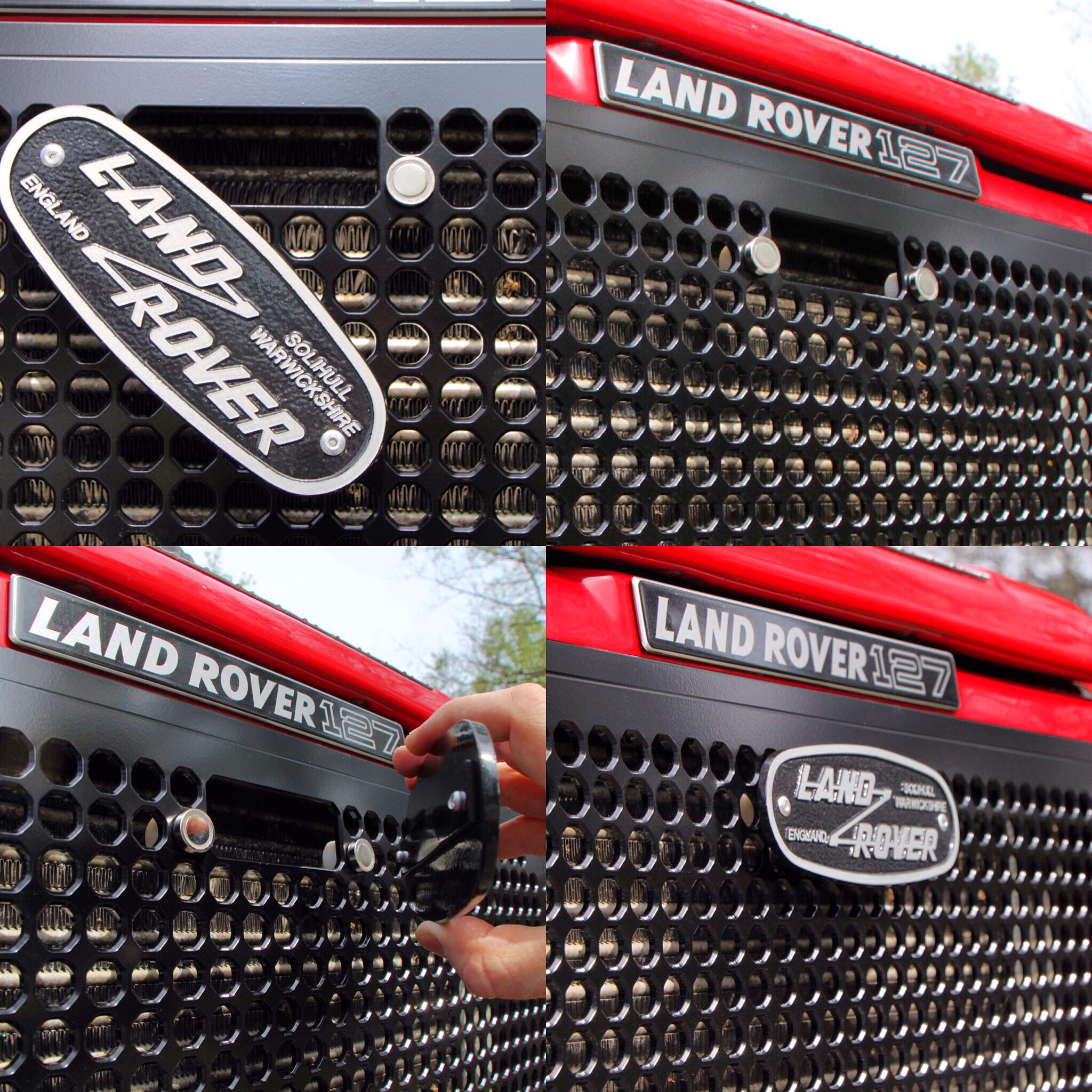 SDO Defender Front Grille (with cutout for manual bonnet latch) & removable Solihull Badge